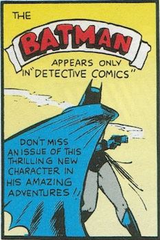 Batman with gun, from an early Detective Comics, 1939
