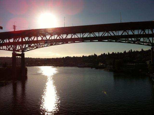 The I-5 bridge from the University bridge, late afternoon, Seattle