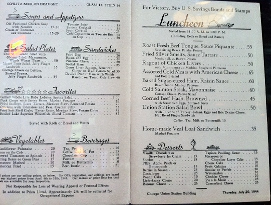 1944 restaurant menu on the wall at the Big River Grill in Stephenson, Washington