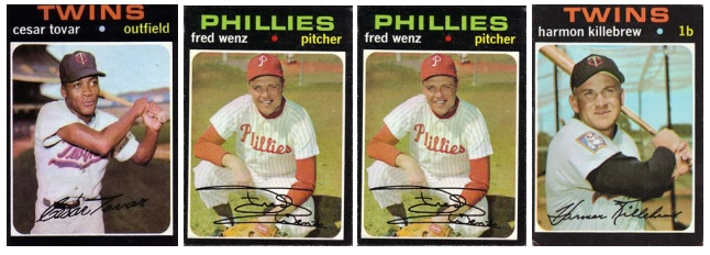 1971 Topps cards: Cesar Tovar, Fred Wenz, Fred Wenz again, and Harmon Killebrew