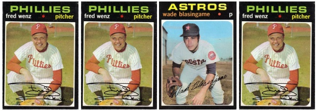 1971 Topps cards: three Fred Wenzes and one Wade Blasingame