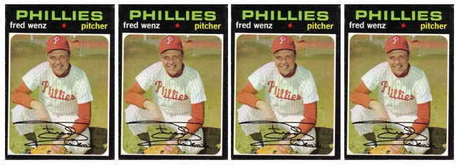 1971 Topps baseball cards: Fred Wenz x 4