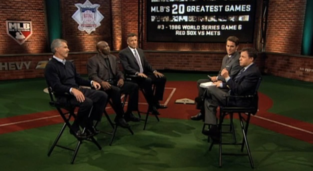 Bob Costas, Tom Verducci, Bill Bucker, Mookie Wilson and Bob Ojeda on Game 6 of the 1986 World Series