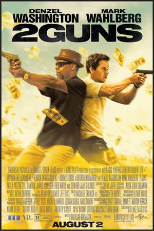 2 Guns, starring Denzel Washington and Mark Wahlberg