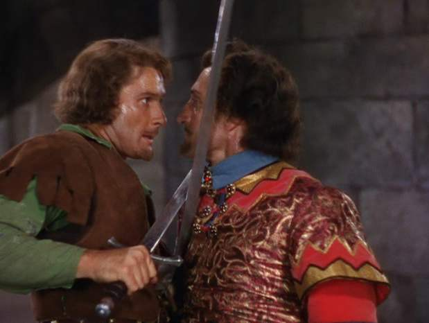 The duel between Robin Hood and Sir Guy of Gisbourne