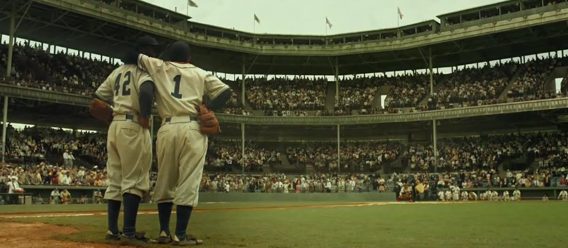 "Jackie Robinson and Pee Wee Reese in ""42"""