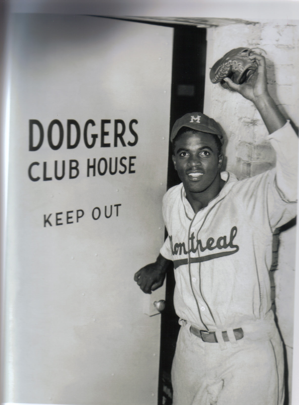 Jackie Robinson entering the Brooklyn Dodgers' clubhouse