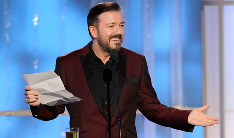 Ricky Gervais hosts the 69th Annual Golden Globes Ceremony in Hollywood: January 15, 2012