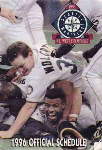 Mariners 1996 schedule with famous Griffey hogpile