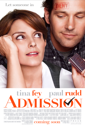 Admission, starring Tina Fey and Paul Rudd