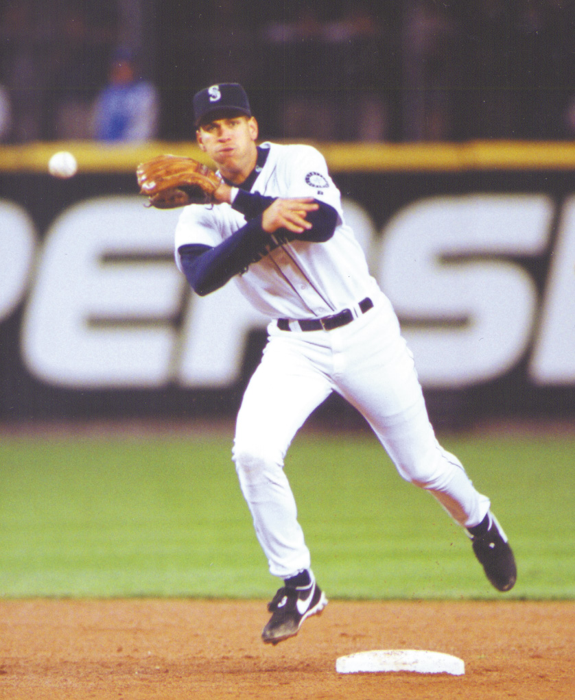 Alex Rodriguez playing shortstop for the Seattle Mariners in the late 1990s.