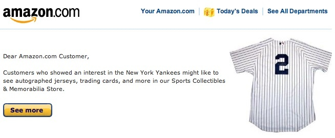 Email from amazon.com about the Yankees