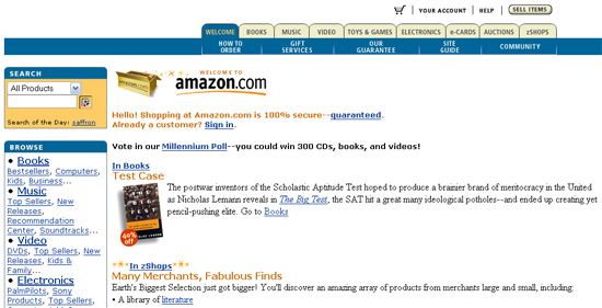 Screenshot of amazon.com from 1996