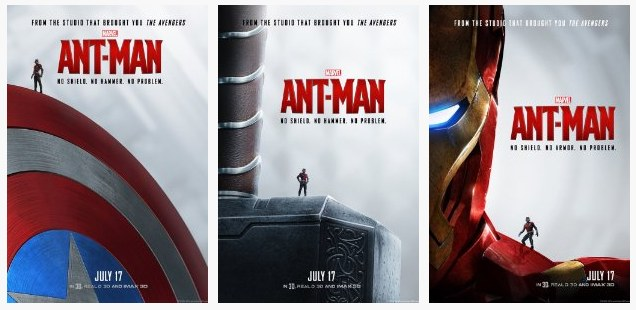 Ant-Man posters with Avengers' artifacts