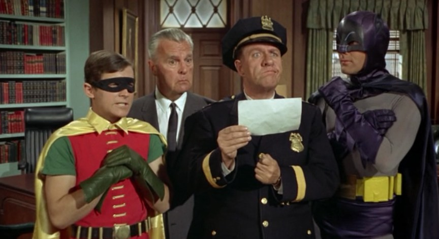 Batman, Robin, Commissioner Gordon, Chief O'Hara