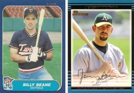 Baseball cards for Billy Beane and Jeremy Brown