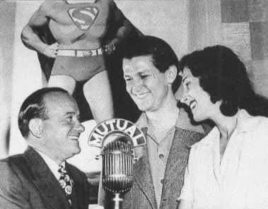 "Jackson Beck, Bud Collyer, Joan Alexander, the voices from the ""Adventures of Superman"" radio series in the 1940s."