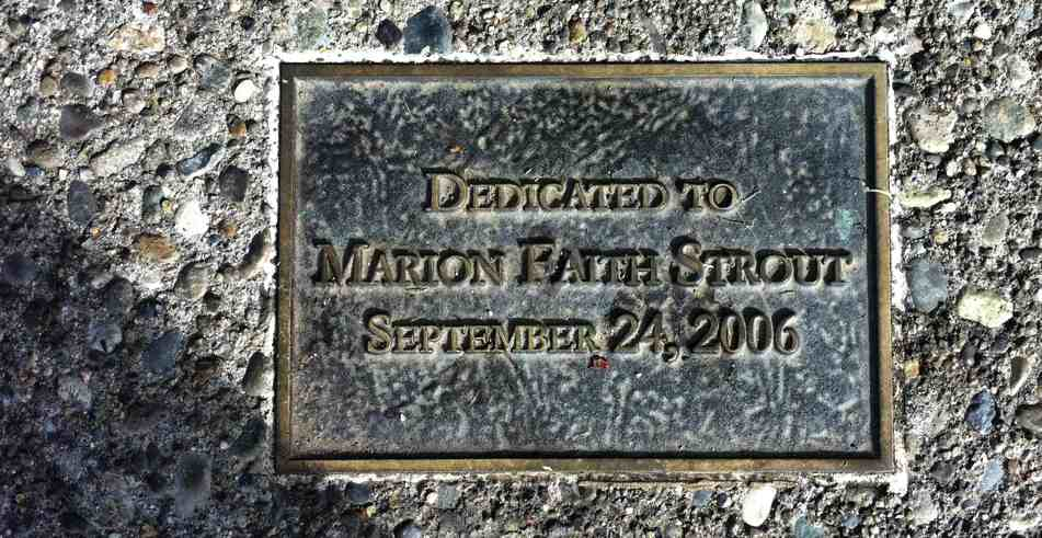 Marion Faith Strout plaque at the Betty Bowen Lookout on Queen Anne hill in Seattle