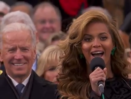 Beyonce sings the National Anthem, Joe Biden smiles
