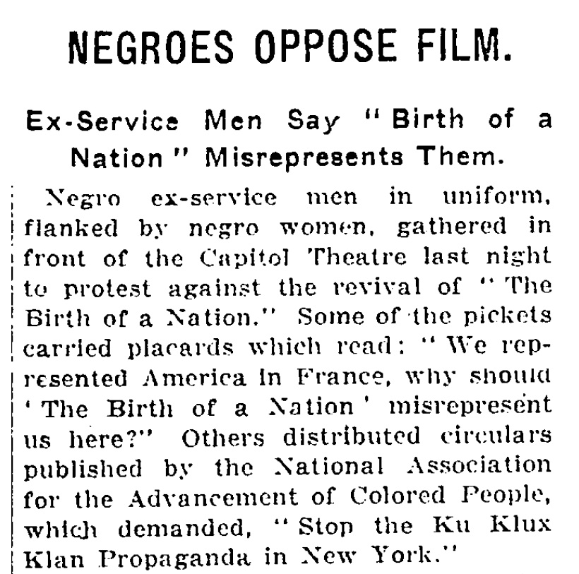 "New York Times article on a 1921 protest of ""Birth of a Nation"""