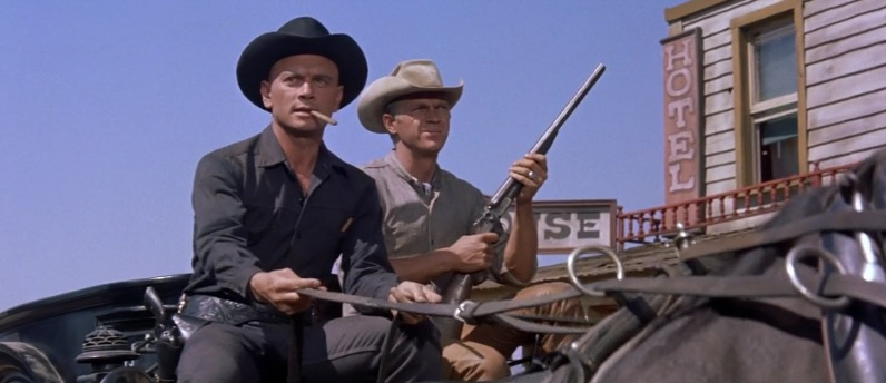 "Yul Brynner and Steve McQueen in ""The Magnificent Seven"""