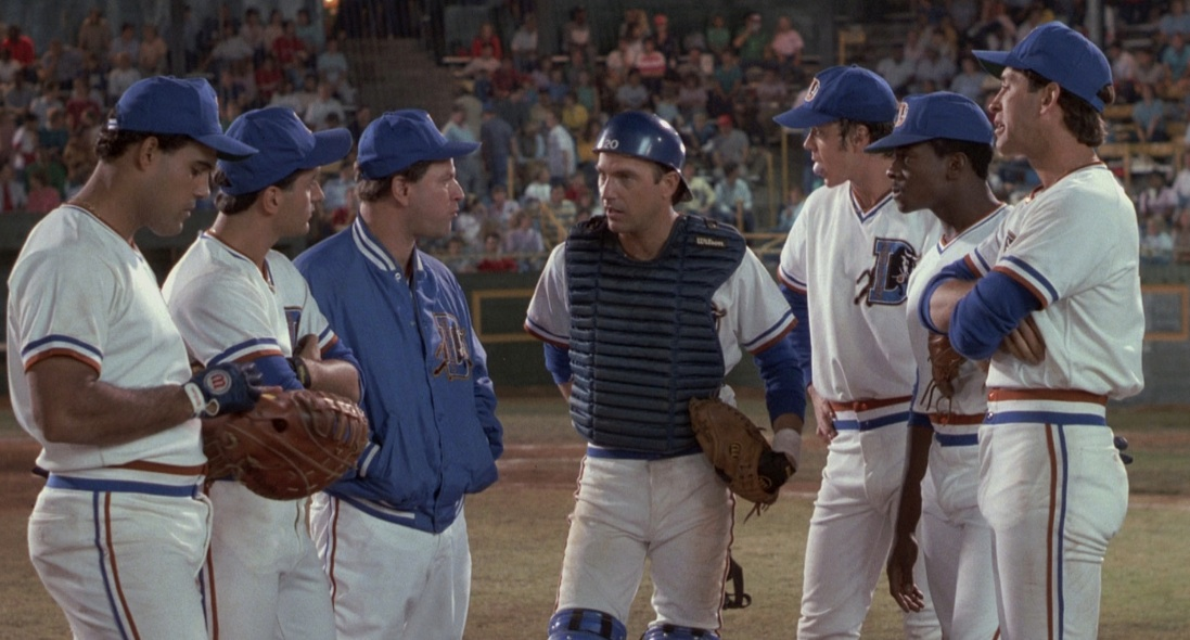 "Pitching mound conference in ""Bull Durham"""