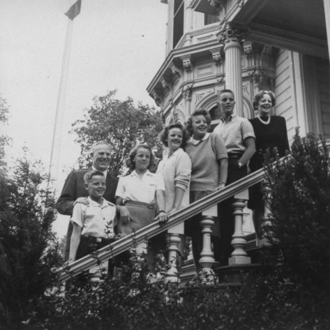 Gov. Earl Warren of California posing with wife and kids