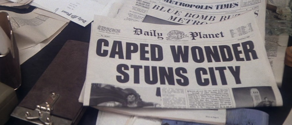 """Caped Wonder Stuns City"": Daily Planet headline in ""Superman"""