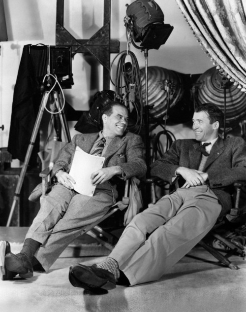"Frank Capra and Jimmy Stewart on the set of ""It's a Wonderful Life"""