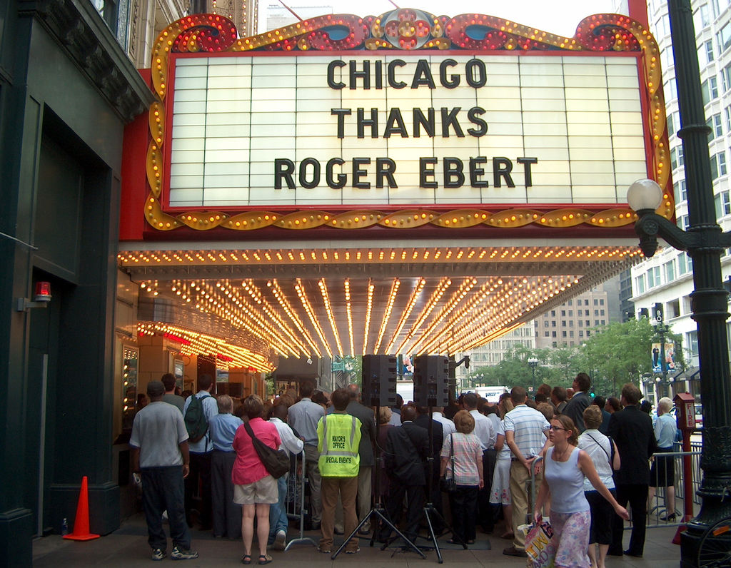 Chicago Thanks Roger Ebert movie marquee