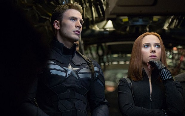Chris Evans Scarlett Johansson in Captain America The Winter Soldier