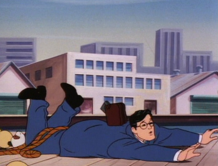 "(Clark stumbles on the pier in the Ruby-Spears ""Superman"" cartoon, 1988)"