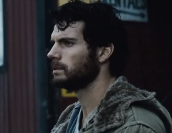 "Henry Cavill as Clark Kent, bearded, in ""Man of Steel"" (2013)"