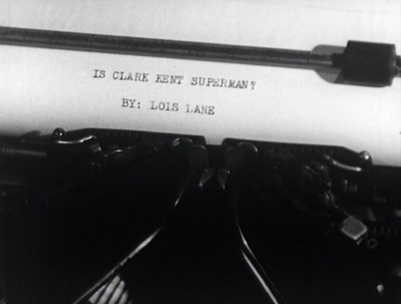 """Is Clark Kent Superman? By Lois Lane"" Screenshot from ""Atom Man vs. Superman,"" 1950"