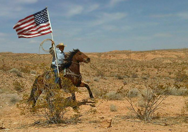 Cliven Bundy and American flag