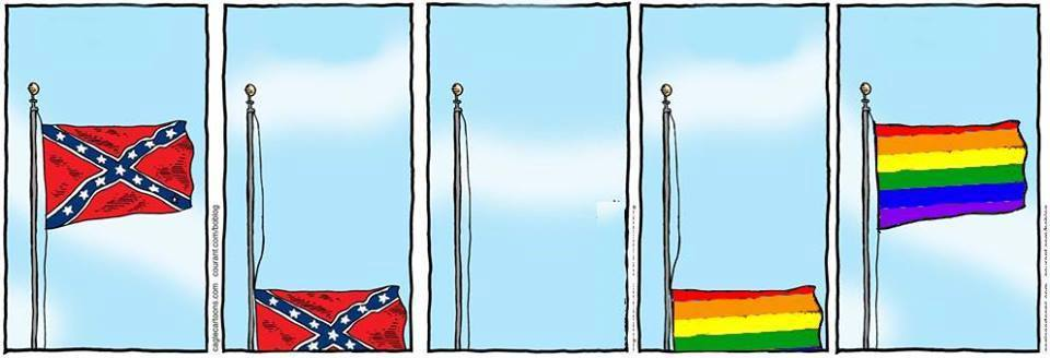 Confederate flag down, rainbow flag up