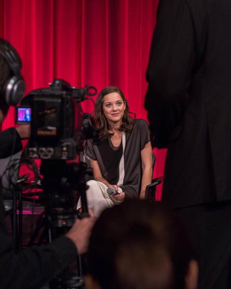 Marion Cotillard answering questions for the Academy of Motion Picture Arts and Sciences