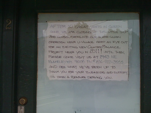 The farewell notice outside the former Counter Balance bike shop in lower Queen Anne, June 2010
