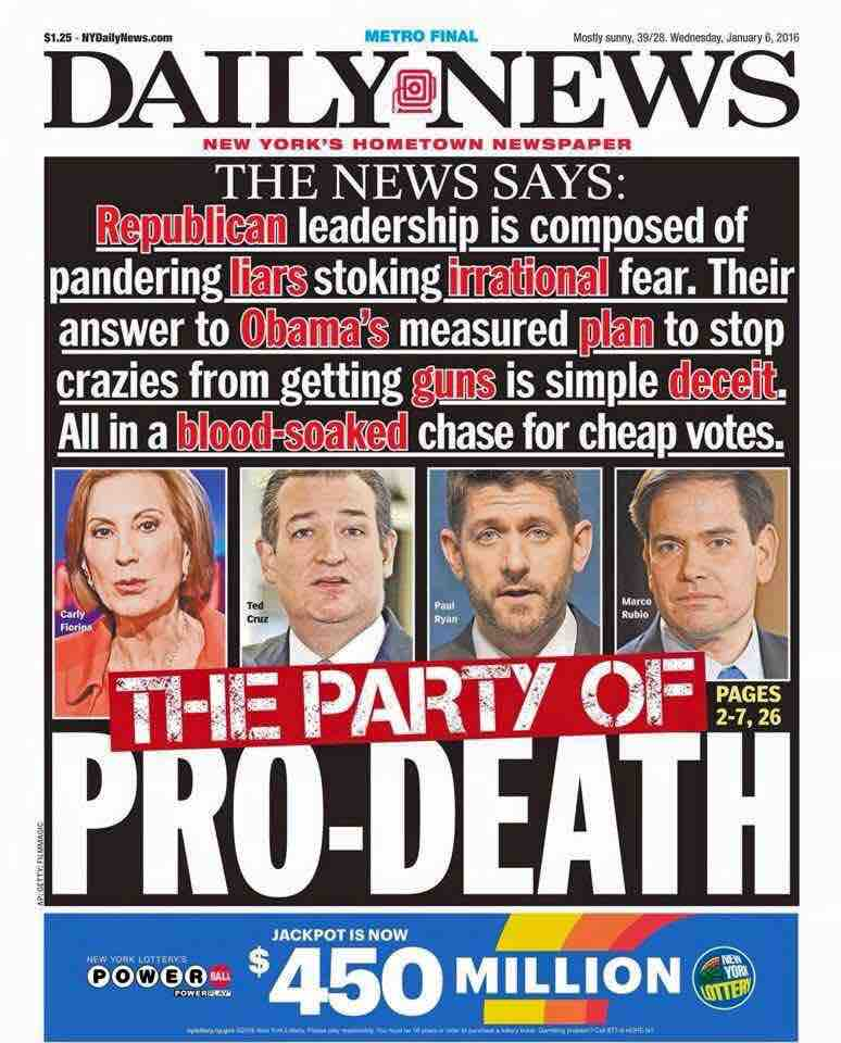 NY Daily News calls the GOP liars and pro-death