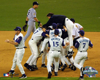 The Diamondbacks celebrate winning the 2001 World Series