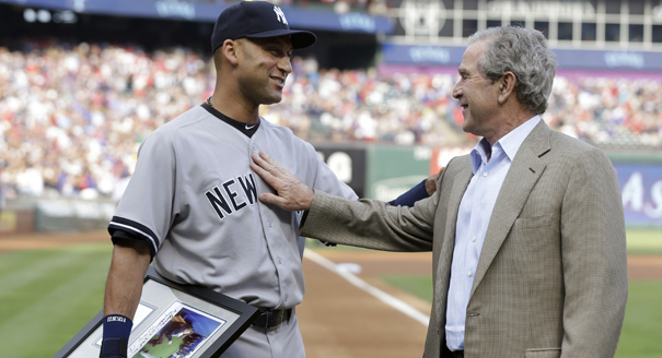 Derek Jeter and George W. Bush: touching
