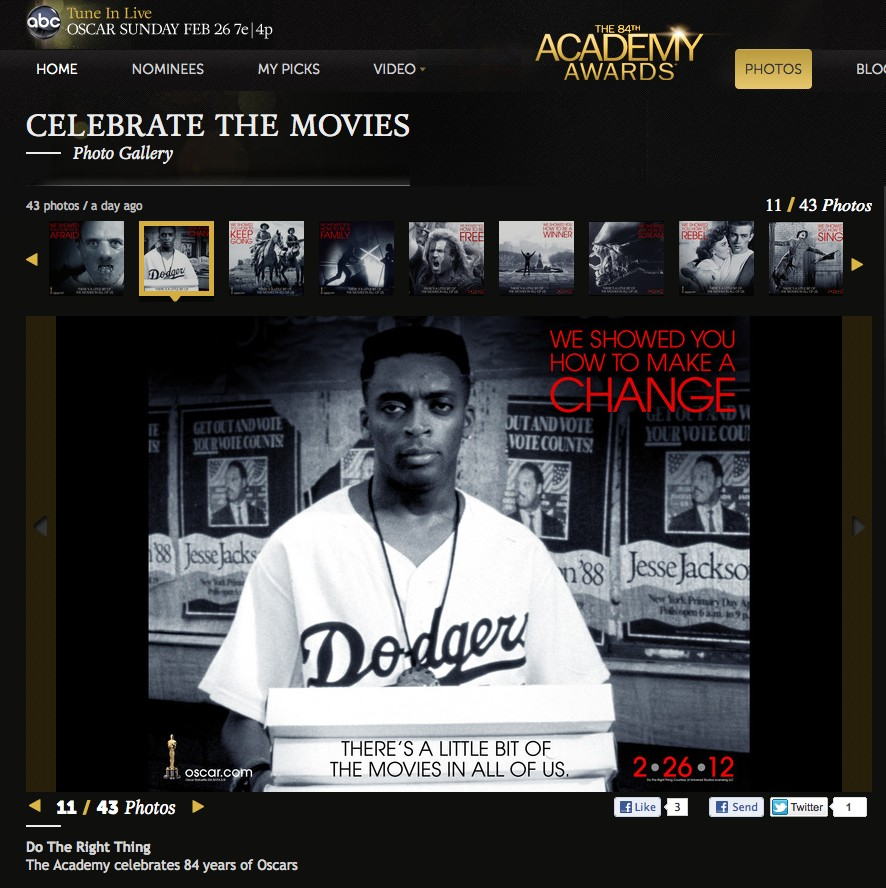 """Do the Right Thing"" on the Oscar site"