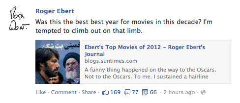 Roger Ebert's 10 best movies of 2012