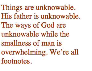 Things are unknowable. His father is unknowable. The ways of God are unknowable while the smallness of man is overwhelming. We're all footnotes.