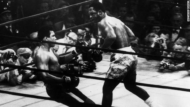 Joe Frazier knocks down Muhammadi Ali in the 15th round of their 1971 title fight