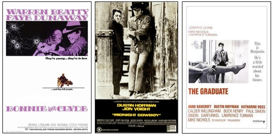 Post Hays code movies: The Graduate, Bonnie and Clyde, Midnight Cowboy