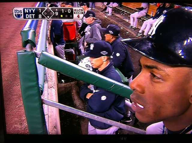 Curtis Granderson in the Yankees dugout during their elimination from the 2012 postseason