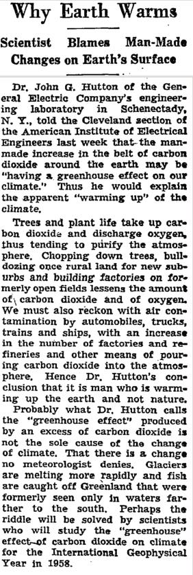 The first mention of 'greenhouse effect' in The New York Times
