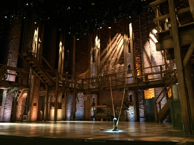 The Hamilton stage before the show