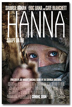 poster for the movie Hannah, starring Saoirse Ronan, Eric Bana and Cate Blanchett
